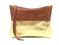 "Preview: Clutch Leder Etui Ledertasche Utensilo ""BERNSTEIN/GOLD"""