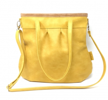 "Grosse Ledertasche gelb Handtasche Damen Shelly Big ""SAFRAN/CARAMELL"""