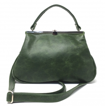 Grüne Ledertasche Handtasche aus Leder Klipper S+