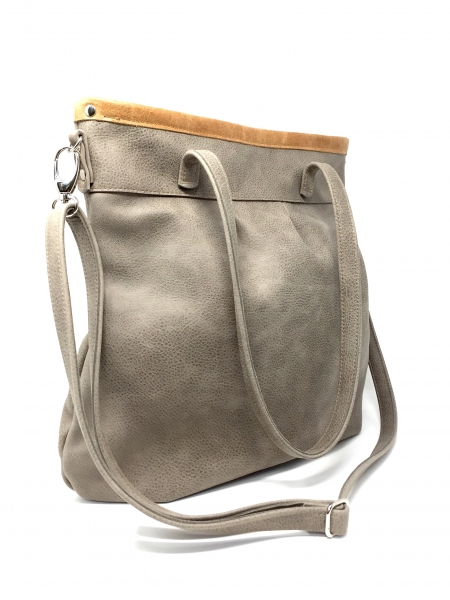 "Grosse Ledertasche Damen Umhängetasche Shelly Big ""STONE/CARAMELL"""
